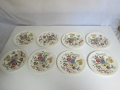 "Lot 8 Vernonware Mayflower Plates 7 5/8"" Kilns Glaze Hand Painted May Flower"