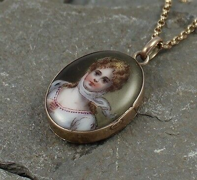 ***sale***antique Victorian 9Ct Gold Porcelain Portrait Pendant With Locket Back