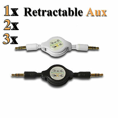 3.5mm AUX Retractable Cable Lead Audio Input Male Extension Auxiliary Car Cord
