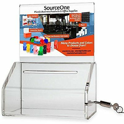Source Store Sign Holders One 2 Pack, Small Clear Donation Charity Ballot Box