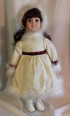 """17"""" Porcelain Doll In White Christmas Holiday Dress With Feather Trim"""