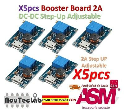 5pcs 2A Booster DC-DC Step-up 2/24V to 5/12/28V Micro USB MT3608 Replace XL6009