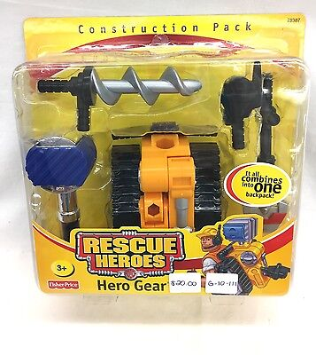 Fisher Price Rescue Heroes Hero Gear Construction Pack New