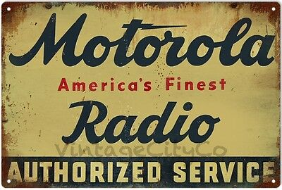 Antique Style Motorola Radio Authorized Service Advertising Metal Sign - Rusted