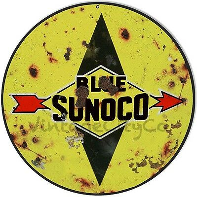 """Antique Style """" Blue Sunoco """" Round Metal Sign - Rusted"""