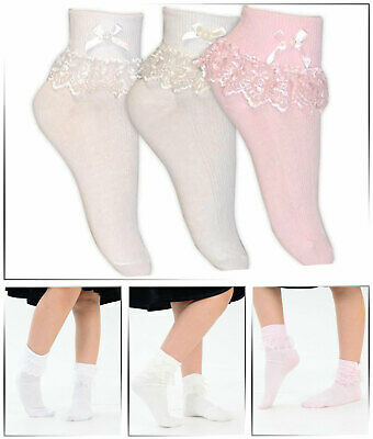 Girl's Children's Ribbed Frilly Lace Edge and Bow Ankle Socks Pink and White