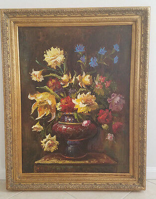 L. Frank Still Life Original Oil Floral Painting