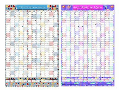 A1 2017 2018 Academic Mid Year Wall Planner Calendar with Pen Stickers Unmounted