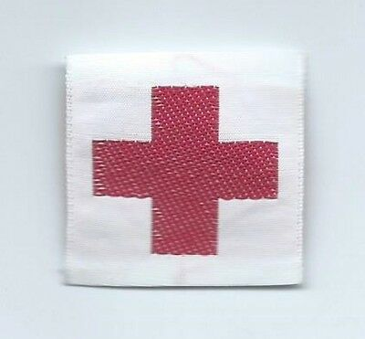 Red Cross clothing tag or patch 1-1/4 X 1-3/8  small size   #1493