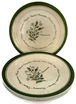 """Set of 6 Corelle Thymeless Herbs Chamomile Luncheon Plates 8.5"""" Vintage USA"""