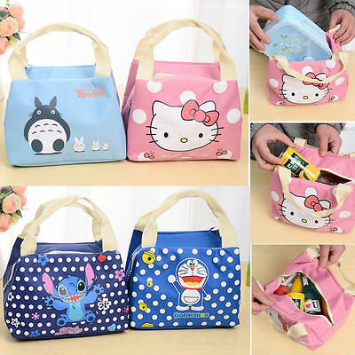 Cartoon Patterns Insulated Thermal Cooler Lunch Box Carry Storage Bag Kids Love
