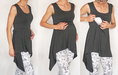 Asymmetric Dark Grey Tunic Dress Tied With Hidden Nursing Access Sleeveless Top