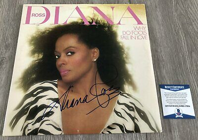 DIANA ROSS SIGNED AUTOGRAPH WHY DO FOOLS FALL IN LOVE ALBUM w/EXACT VIDEO PROOF