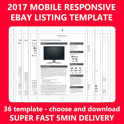 Template Ebay auction listing Professional mobile Responsive design html 2017