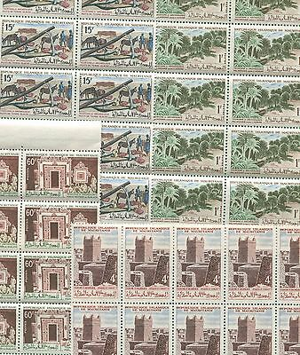 4 Blocks of 10 Stamps Mauritania 191-194 @ Cat Value $19.50 Palms Adrar Mosque