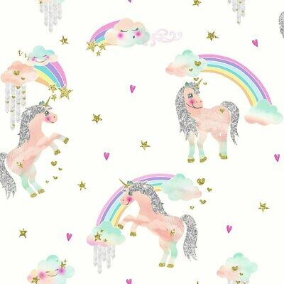 Arthouse Rainbow Unicorn White Wallpaper 696109 - Kids Girls Fairytale Glitter