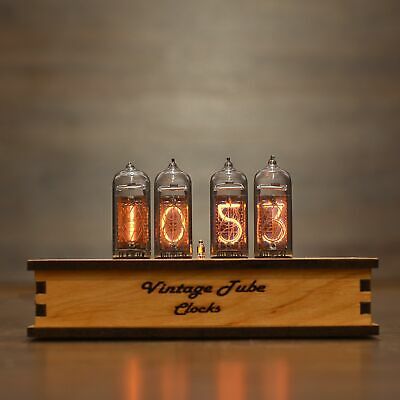 Nixie Tube Clock 4x IN-14 Nixie Clock Vintage Retro Desk Wooden Table Clock