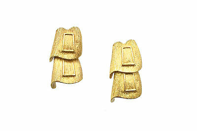 Vintage Solid 24K Yellow Gold Drop Earrings, 8.3 Pennyweights, Brushed Finish
