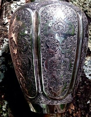 Persian Sterling Silver Vase - Islamic Isfahan Vessel -- 235 grams