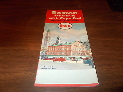 1958 Esso Boston and Vicinity/Cape Cod Vintage Road Map /Faneuil Hall on Cover