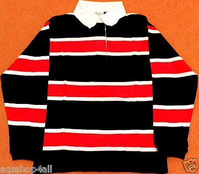 eab95fcfe7 New Boys Long Sleeves Polo T-shirt Black with Red White Stripes Age 8 -