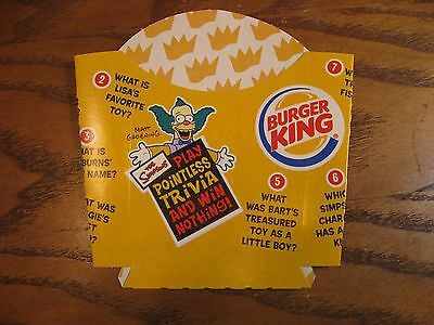 Burger King - The Simpsons -  French Fry Carton - New - Pointless Trivia - 2002