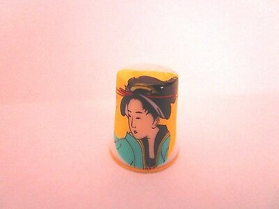 "Chinese Geisha Ceramic Thimble 1.25"" tall"