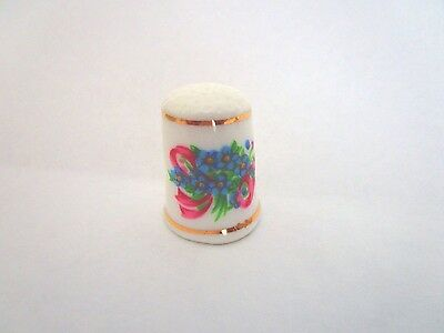 "Blue Floral Nosegay Ceramic Thimble 1.25"" tall"