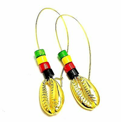 Gold Plated Cowrie Shell African Earrings w/ Rasta Jamaican Reggae Wood Bead USA