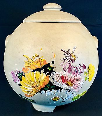 Vtg Ransburg Cookie Jar Hand  Painted Stoneware Pottery Tan Flowers Shabby