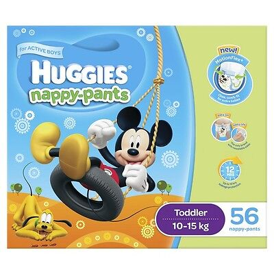 Huggies Nappy Pants Toddler Boy 10-15kg Jumbo 56 NEW