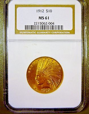 1912 $10 Gold Indian Eagle NGC MS61
