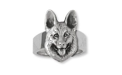German Shepherd Ring Handmade Sterling Silver Dog Jewelry GS23-R