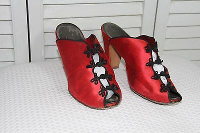 Vintage Shoes - Red Satin Asian Style Heels - Daniel Green