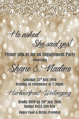 Glitter Engagement He Asked She Said Yes Invite Invitation Gold Silver Wedding