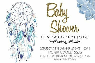 Baby Shower Invite Boy Invitation Party Mum to Be Dreamcatcher Indian Boho