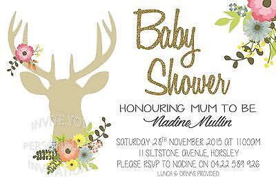 Baby Shower Invite Girl Invitation Party Stag Deer Floral Flowers Boho