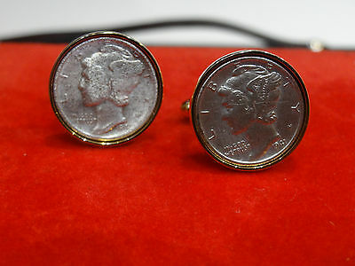 Anson vintage antique 1941 Liberty Dimes Gold Silver 2 tone shirt Cufflinks