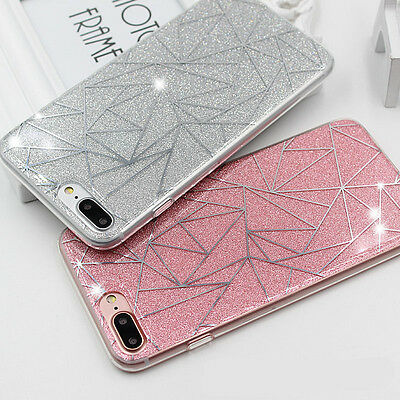 For iPhone 6 7 Ultra Slim Bling Rubber TPU Silicone Protective Hard Case Cover