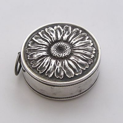 Antique Sterling Silver Sunflower Tape Measure