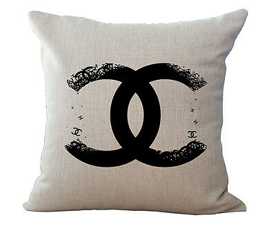 Vintage Designer BLACK Logo Linen  Cushion Cover Pillow Case 45x45cm Home Decor