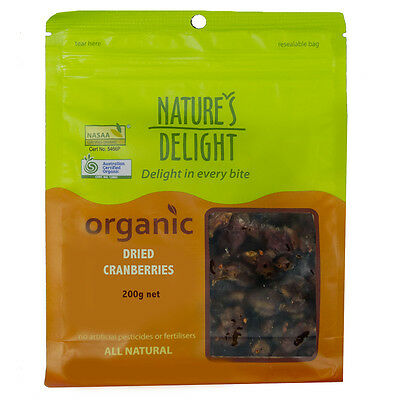 Natures Delight Organic Dried Cranberries 200g