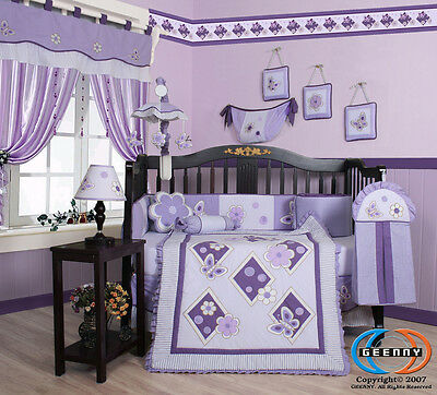 Baby Boutique Girl Lavender Butterfly GEENNY 13PCS Nursery CRIB BEDDING SET
