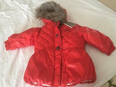 JEAN BOURGET French Boutique Girls 2/3yrs Red Puffer Jacket/Coat - NWT