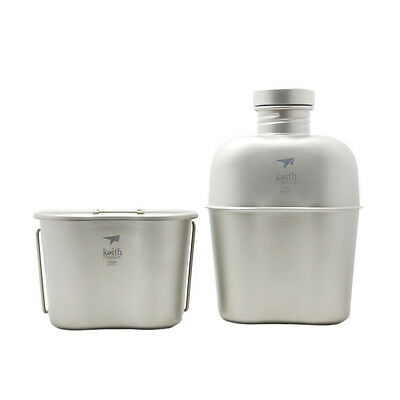 1100ml+700ml Camping Titanium Canteen Cup Kettle Outdoor Water Bottle Ti3060