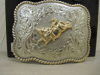 ANDWEST - Handfinished Buckle Bull Rider Motif Gold-Toned Roper Border - 908
