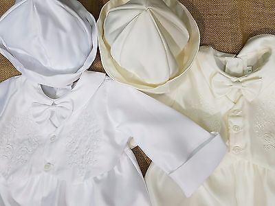 Boys Long Sleeve White Ivory Cross Christening Romper Baby Toddler Size 0000-1