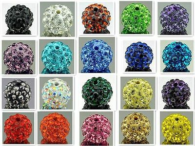 Multi-color Shamballa Kristall Perlen Beads Strass Disco Kugel Ball DIY 10mm
