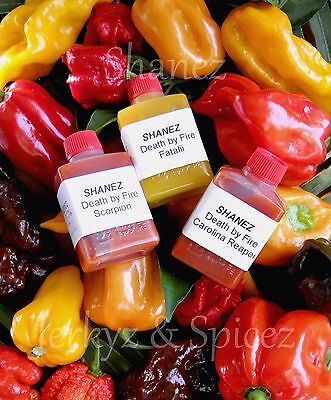 Carolina Reaper, Scorpion, Fatalii Sale! 3x15ml Shanez 'DBF'(Hot Sauce)Chilli
