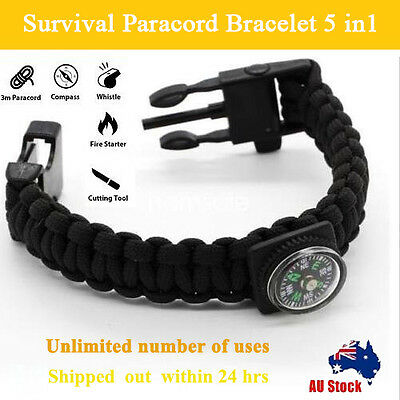 5 in1 Survival Paracord Bracelet  Fire Starter Whistle Compass Gear Tools Kit